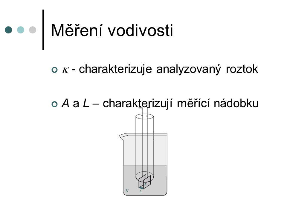 Měření vodivosti  - charakterizuje analyzovaný roztok A a L – charakterizují měřící nádobku  A L