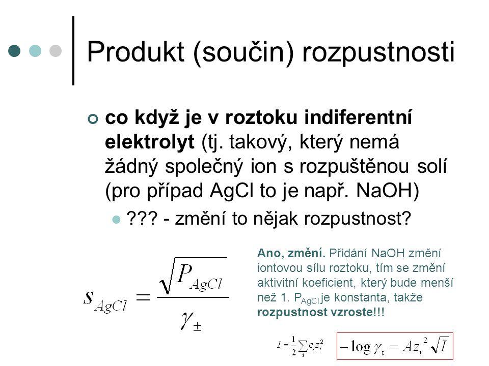 Produkt (součin) rozpustnosti co když je v roztoku indiferentní elektrolyt (tj.