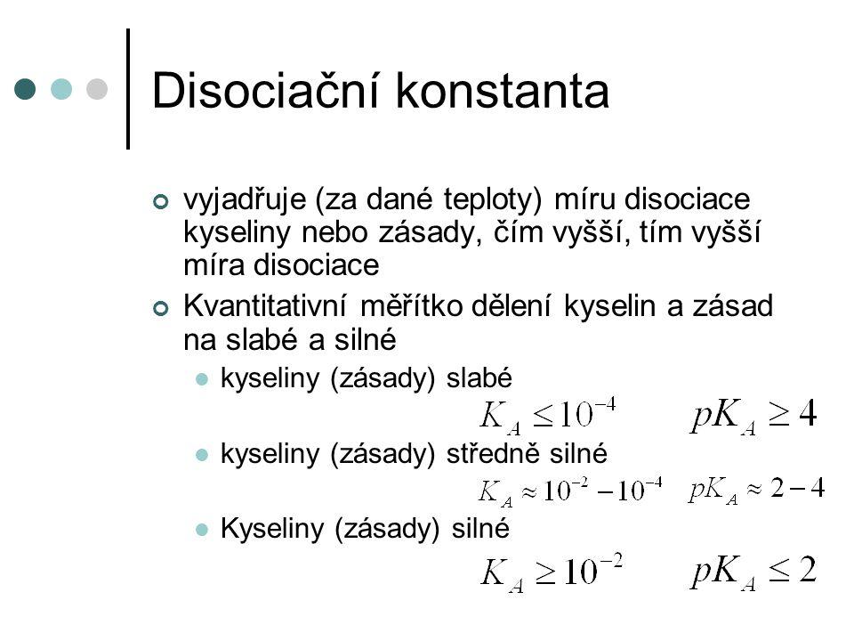 Disociační konstanta vyjadřuje (za dané teploty) míru disociace kyseliny nebo zásady, čím vyšší, tím vyšší míra disociace Kvantitativní měřítko dělení kyselin a zásad na slabé a silné kyseliny (zásady) slabé kyseliny (zásady) středně silné Kyseliny (zásady) silné