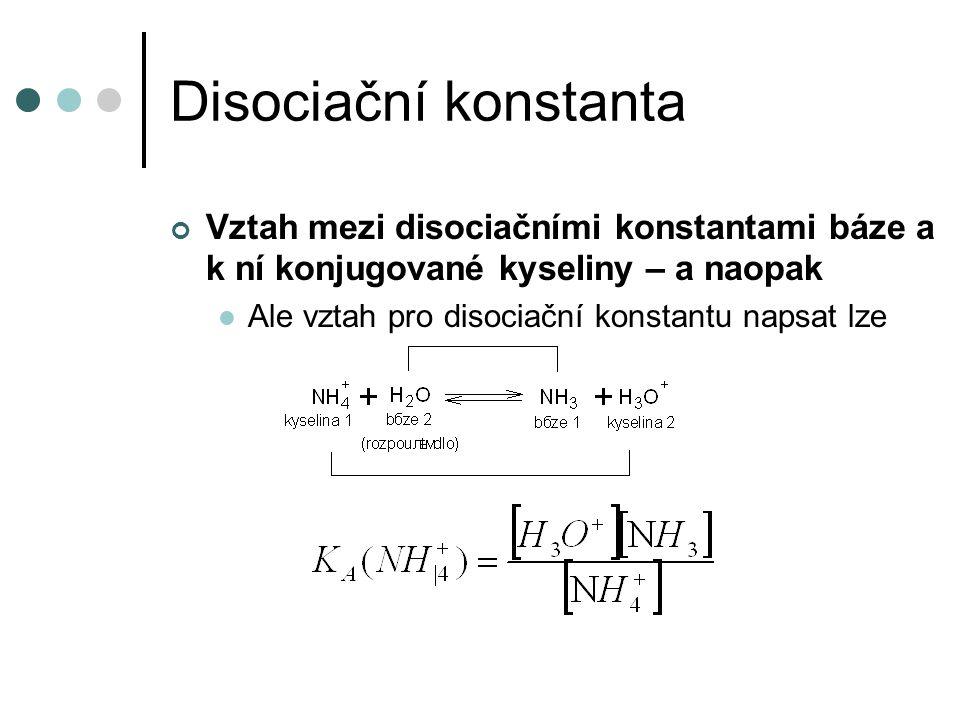 Disociační konstanta Vztah mezi disociačními konstantami báze a k ní konjugované kyseliny – a naopak Ale vztah pro disociační konstantu napsat lze