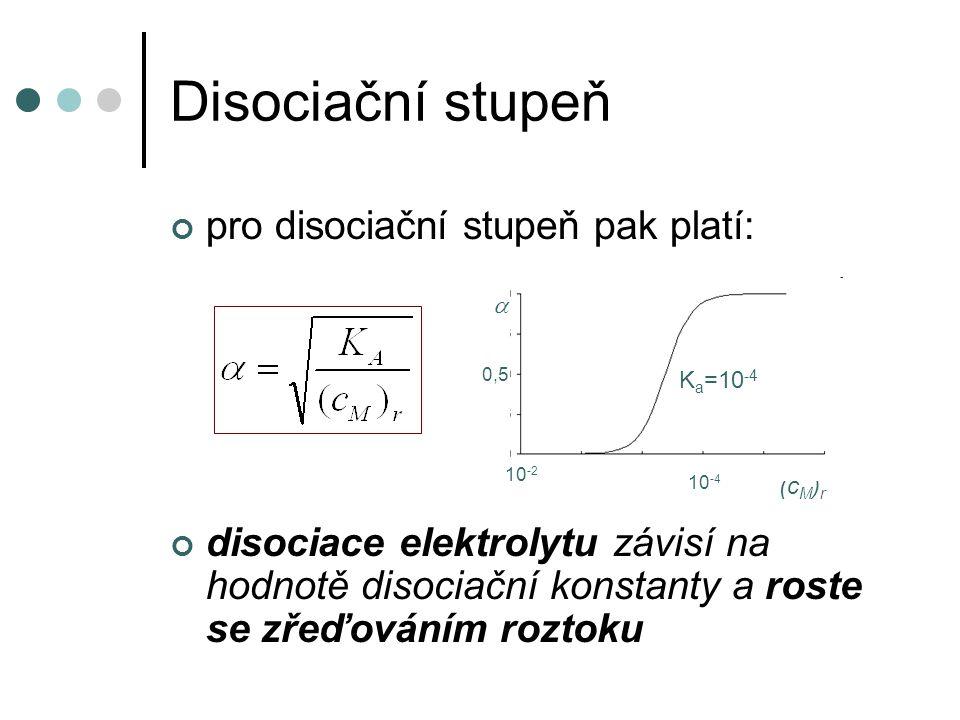 Disociační stupeň pro disociační stupeň pak platí: disociace elektrolytu závisí na hodnotě disociační konstanty a roste se zřeďováním roztoku K a =10 -4 (c M ) r  10 -2 10 -4 0,5