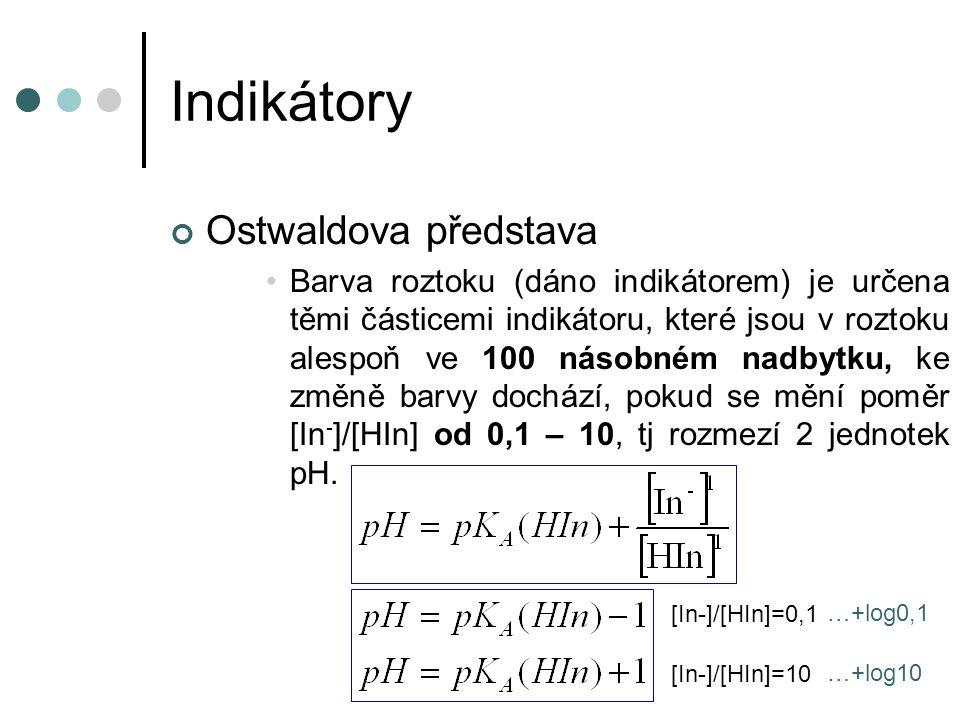 Indikátory Ostwaldova představa Barva roztoku (dáno indikátorem) je určena těmi částicemi indikátoru, které jsou v roztoku alespoň ve 100 násobném nadbytku, ke změně barvy dochází, pokud se mění poměr [In - ]/[HIn] od 0,1 – 10, tj rozmezí 2 jednotek pH.