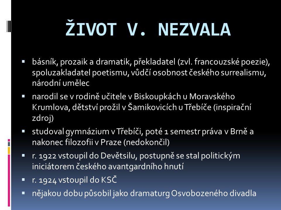 ŽIVOT V. NEZVALA  básník, prozaik a dramatik, překladatel (zvl. francouzské poezie), spoluzakladatel poetismu, vůdčí osobnost českého surrealismu, ná