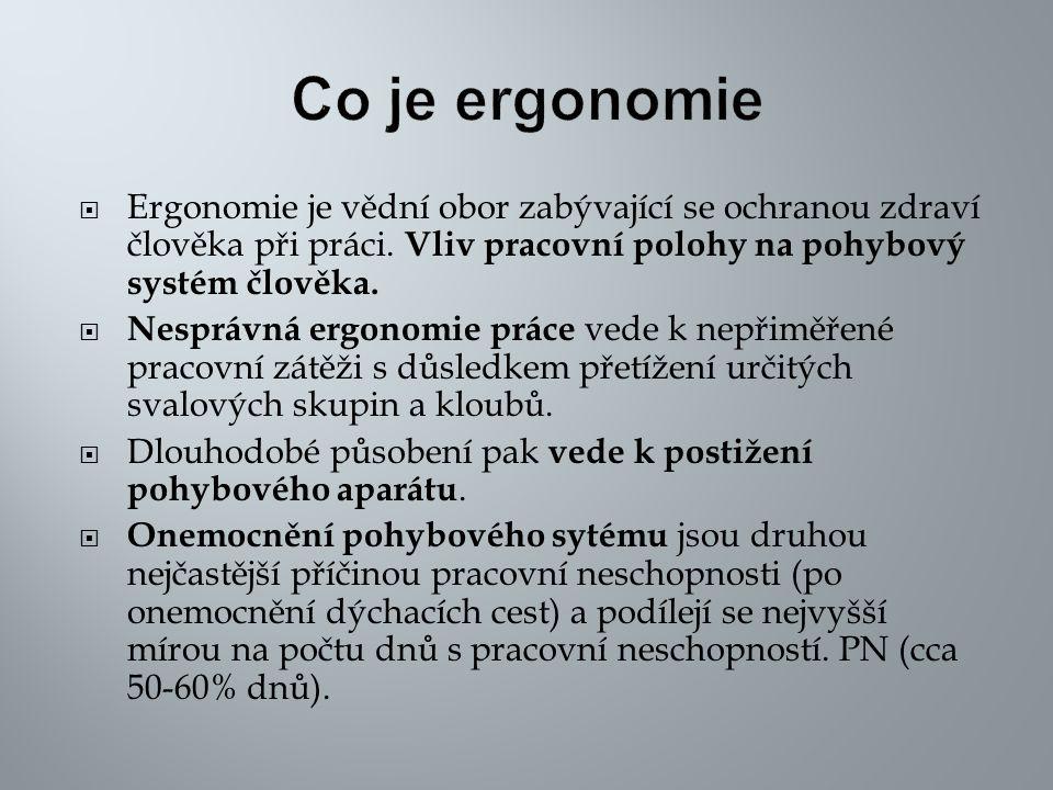  Ergonomie je vědní obor zabývající se ochranou zdraví člověka při práci. Vliv pracovní polohy na pohybový systém člověka.  Nesprávná ergonomie prác