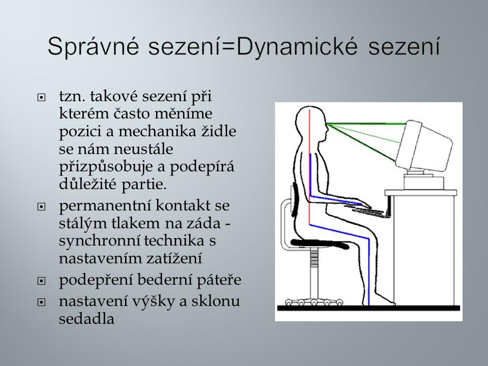  tzn. takové sezení při kterém často měníme pozici a mechanika židle se nám neustále přizpůsobuje a podepírá důležité partie.  permanentní kontakt s