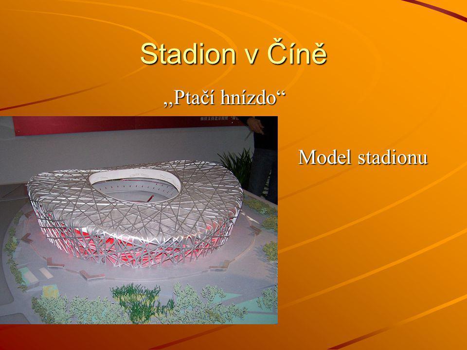 """Stadion v Číně,,Ptačí hnízdo"""",,Ptačí hnízdo"""" Model stadionu Model stadionu"""