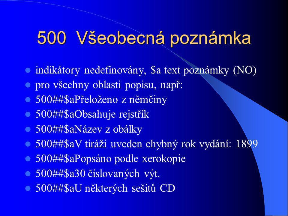 501 Poznámka Společně s: indikátory nedefinovány, $a text poznámky (NO) pro přítisky, přívazky, audiovizuální díla na jednom nosiči, atd.; např: 501##$aObsahuje též: Karla / Božena Němcová přítisk, vedlejší záhlaví autor/název v poli 700 501##$aObsahuje přívazek: Za starých časů.
