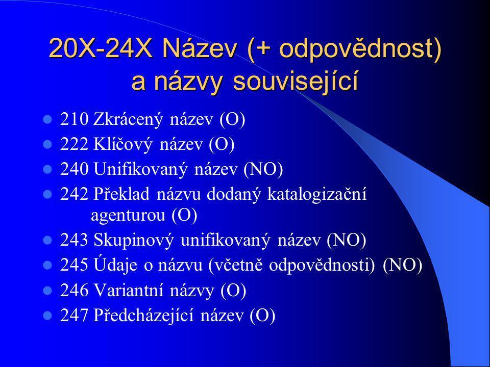 210 Zkrácený název 1.indikátor – vedlejší názvové záhlaví 0 negeneruje se 1 generuje se 2.