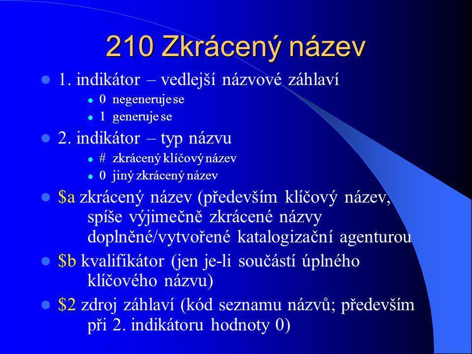 222 Klíčový název 1.indikátor – nedefinován 2.