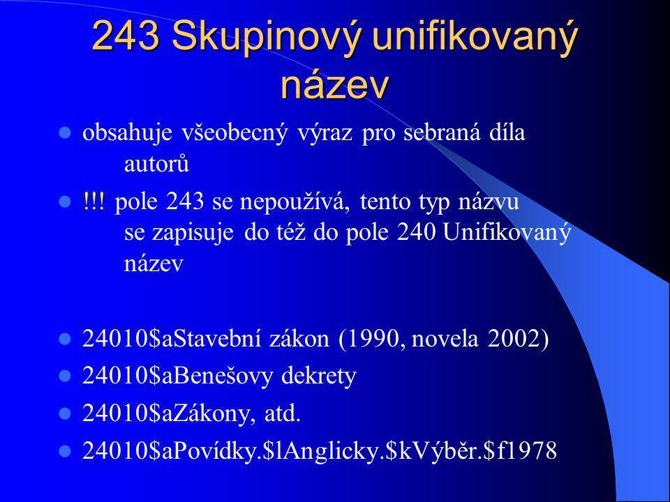242 Překlad názvu dodaný katalogizační agenturou 1.