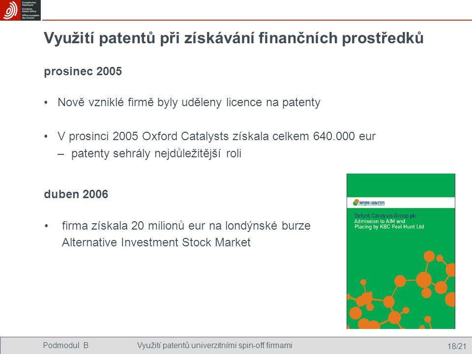 Podmodul BVyužití patentů univerzitními spin-off firmami 18/21 Využití patentů při získávání finančních prostředků Nově vzniklé firmě byly uděleny licence na patenty V prosinci 2005 Oxford Catalysts získala celkem 640.000 eur –patenty sehrály nejdůležitější roli firma získala 20 milionů eur na londýnské burze Alternative Investment Stock Market prosinec 2005 duben 2006