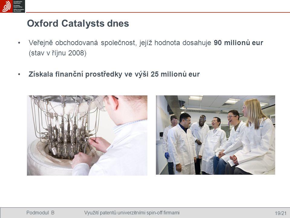 Podmodul BVyužití patentů univerzitními spin-off firmami 19/21 Oxford Catalysts dnes Veřejně obchodovaná společnost, jejíž hodnota dosahuje 90 milionů eur (stav v říjnu 2008) Získala finanční prostředky ve výši 25 milionů eur