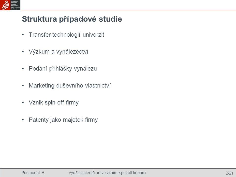 Podmodul BVyužití patentů univerzitními spin-off firmami 2/21 Struktura případové studie Transfer technologií univerzit Výzkum a vynálezectví Podání přihlášky vynálezu Marketing duševního vlastnictví Vznik spin-off firmy Patenty jako majetek firmy