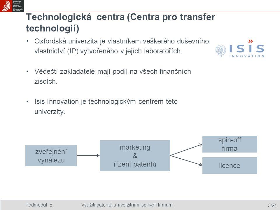 Podmodul BVyužití patentů univerzitními spin-off firmami 3/21 Technologická centra (Centra pro transfer technologií) Oxfordská univerzita je vlastníkem veškerého duševního vlastnictví (IP) vytvořeného v jejích laboratořích.