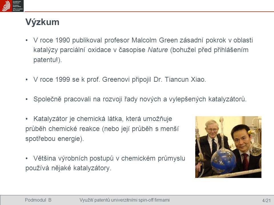 Podmodul BVyužití patentů univerzitními spin-off firmami 4/21 Výzkum V roce 1990 publikoval profesor Malcolm Green zásadní pokrok v oblasti katalýzy parciální oxidace v časopise Nature (bohužel před přihlášením patentu!).