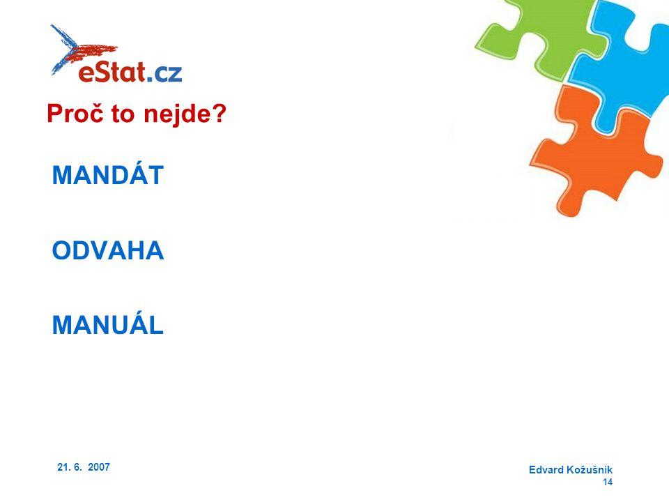 21. 6. 2007 Edvard Kožušník 14 MANDÁT ODVAHA MANUÁL Proč to nejde?