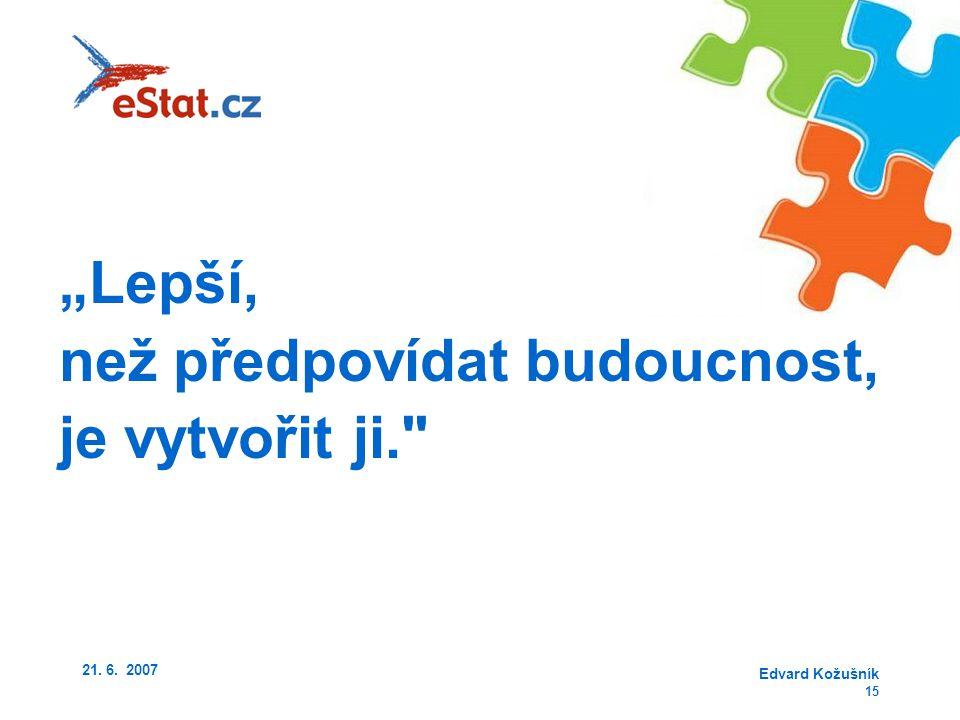 """21. 6. 2007 Edvard Kožušník 15 """"Lepší, než předpovídat budoucnost, je vytvořit ji."""
