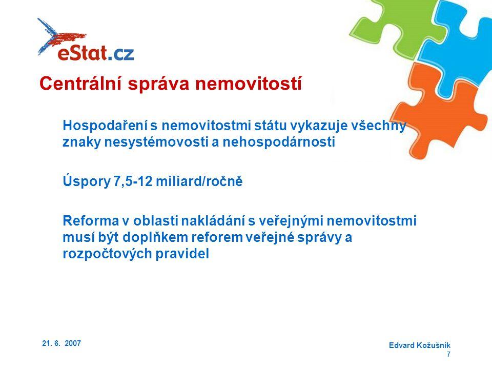 21. 6. 2007 Edvard Kožušník 7 Hospodaření s nemovitostmi státu vykazuje všechny znaky nesystémovosti a nehospodárnosti Úspory 7,5-12 miliard/ročně Ref