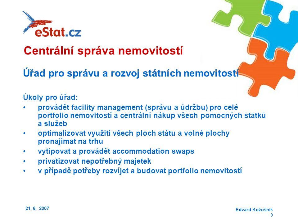 21. 6. 2007 Edvard Kožušník 9 Úřad pro správu a rozvoj státních nemovitostí Úkoly pro úřad: provádět facility management (správu a údržbu) pro celé po