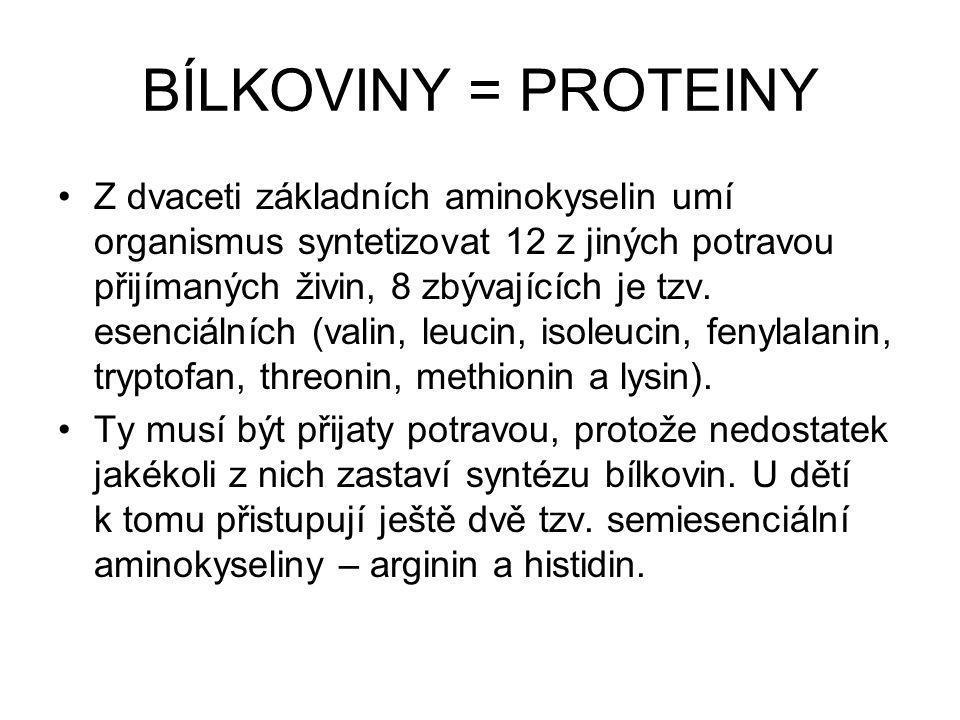 BÍLKOVINY Živočišné bílkoviny obsahují všechny esenciální aminokyseliny Jsou často doprovázeny zbytečně velkým množstvím tuků (uzeniny, tučná masa, tučné sýry) U rostlinných je třeba je kombinovat – např.