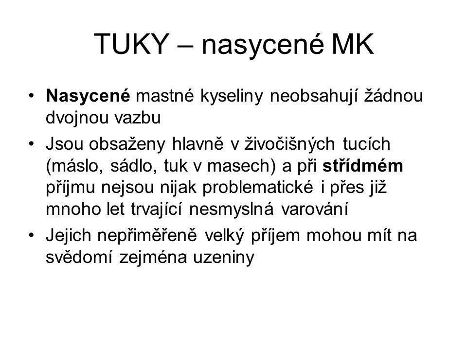 TUKY – NEnasycené MK Mononenasycené obsahující jednu dvojnou vazbu - kyselina olejová, nejvýznamnější součást olivového oleje Nesmyslů o tom, že je nevhodný pro tepelné úpravy koluje mnoho Bez problémů takto používá již tisíce let.
