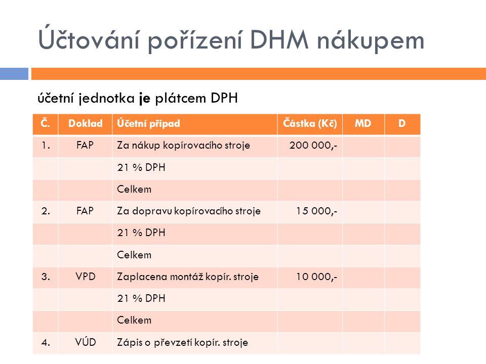 Účtování pořízení DHM nákupem účetní jednotka je plátcem DPH Č.DokladÚčetní případČástka (Kč)MDD 1.FAPZa nákup kopírovacího stroje200 000,- 21 % DPH Celkem 2.FAPZa dopravu kopírovacího stroje15 000,- 21 % DPH Celkem 3.VPDZaplacena montáž kopír.