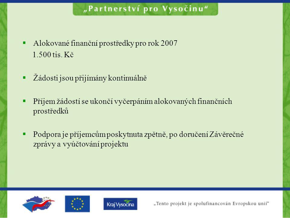  Alokované finanční prostředky pro rok 2007 1.500 tis.