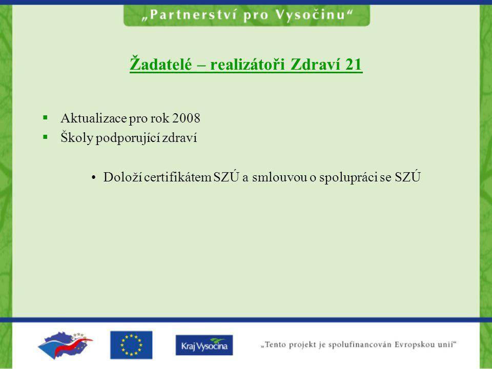 Žadatelé – realizátoři Zdraví 21  Aktualizace pro rok 2008  Školy podporující zdraví Doloží certifikátem SZÚ a smlouvou o spolupráci se SZÚ