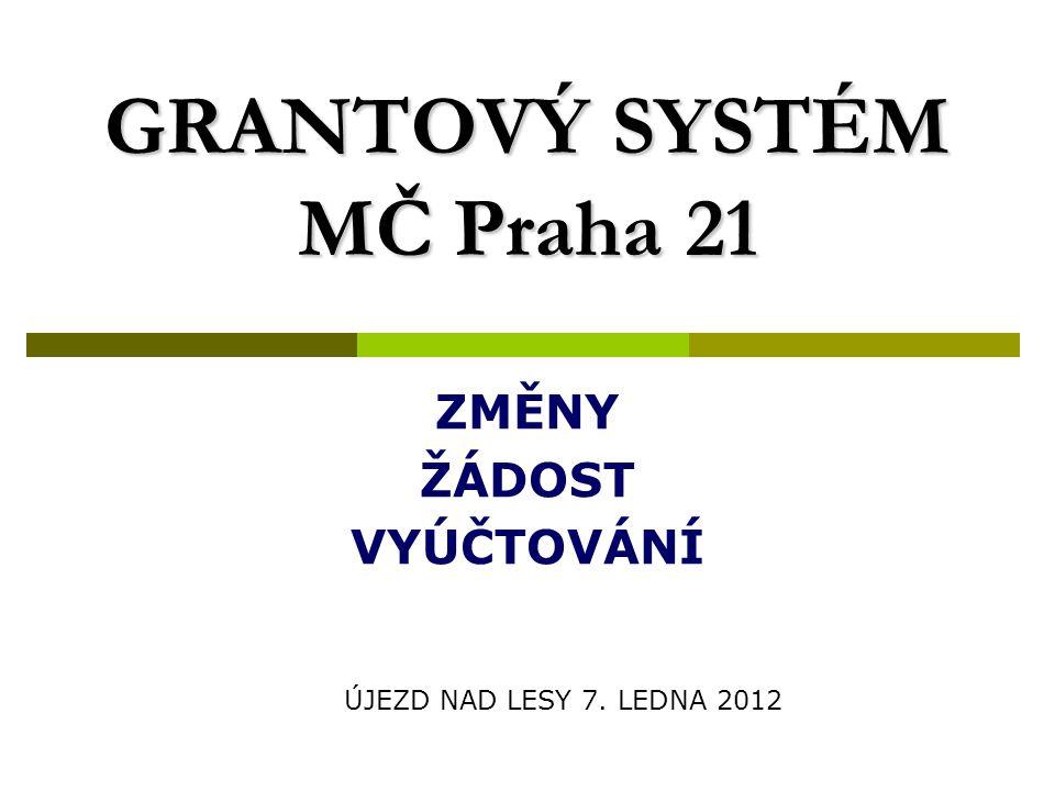 ZMĚNY  Grantová komise (2 + 6 + 1 + tajemník)  Funkční období 1 rok, jmenuje jí RMČ  Povinně strukturovaný popis projektu str.