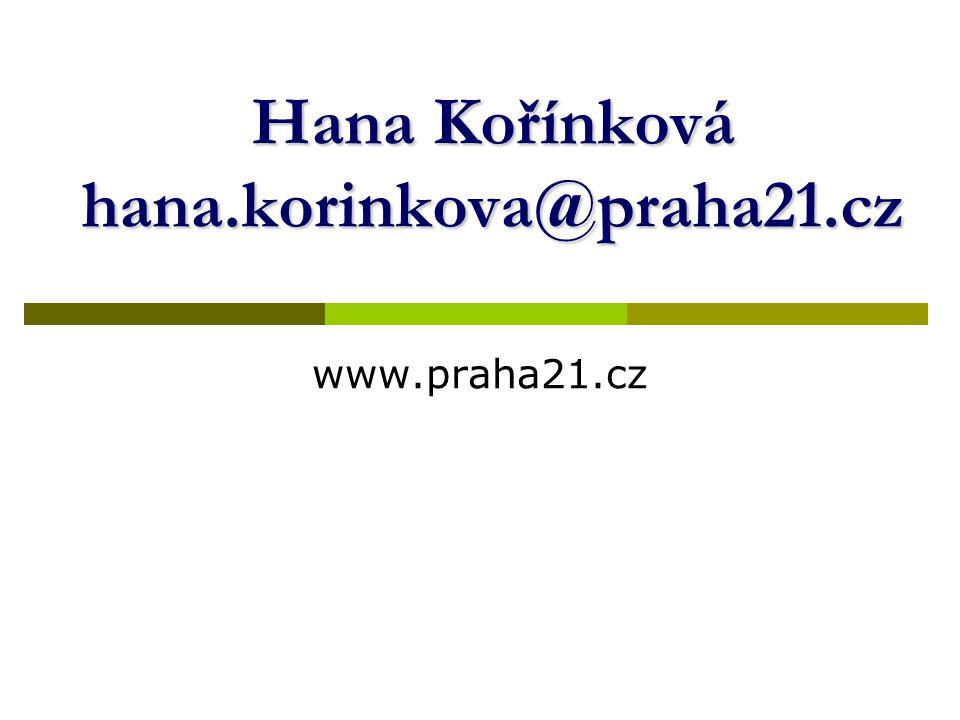 Hana Kořínková hana.korinkova@praha21.cz www.praha21.cz