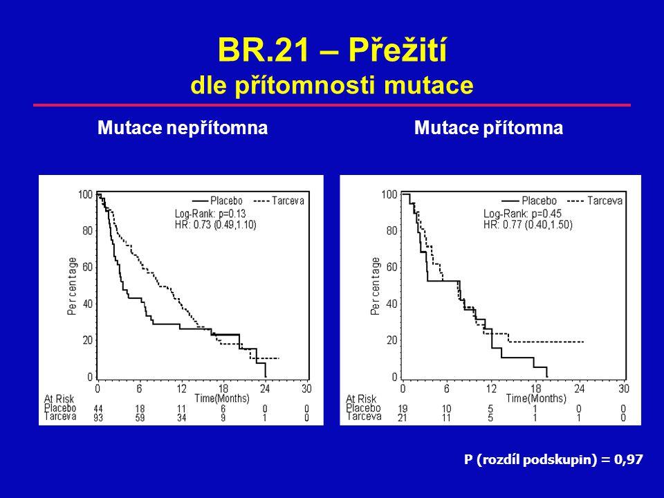 BR.21 – Přežití dle přítomnosti mutace P (rozdíl podskupin) = 0,97 Mutace nepřítomnaMutace přítomna