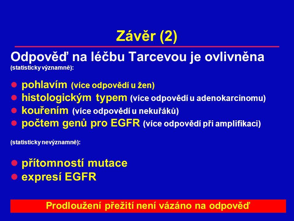 Závěr (2) Odpověď na léčbu Tarcevou je ovlivněna (statisticky významně): pohlavím (více odpovědí u žen) histologickým typem (více odpovědí u adenokarcinomu) kouřením (více odpovědí u nekuřáků) počtem genů pro EGFR (více odpovědí při amplifikaci) (statisticky nevýznamně): přítomností mutace expresí EGFR Prodloužení přežití není vázáno na odpověď