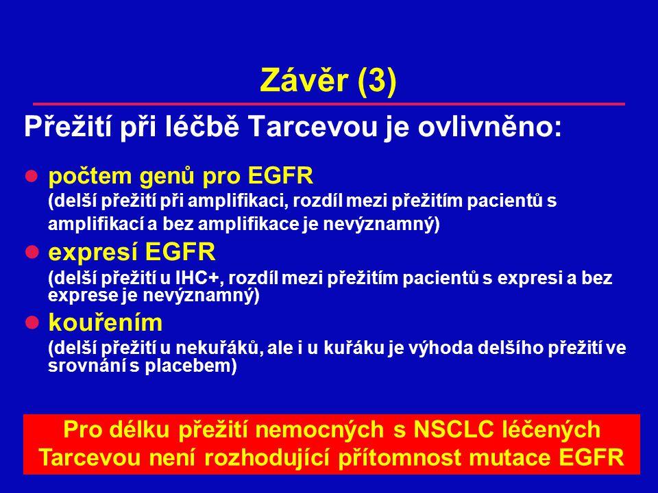 Závěr (3) Přežití při léčbě Tarcevou je ovlivněno: počtem genů pro EGFR (delší přežití při amplifikaci, rozdíl mezi přežitím pacientů s amplifikací a bez amplifikace je nevýznamný) expresí EGFR (delší přežití u IHC+, rozdíl mezi přežitím pacientů s expresi a bez exprese je nevýznamný) kouřením (delší přežití u nekuřáků, ale i u kuřáku je výhoda delšího přežití ve srovnání s placebem) Pro délku přežití nemocných s NSCLC léčených Tarcevou není rozhodující přítomnost mutace EGFR