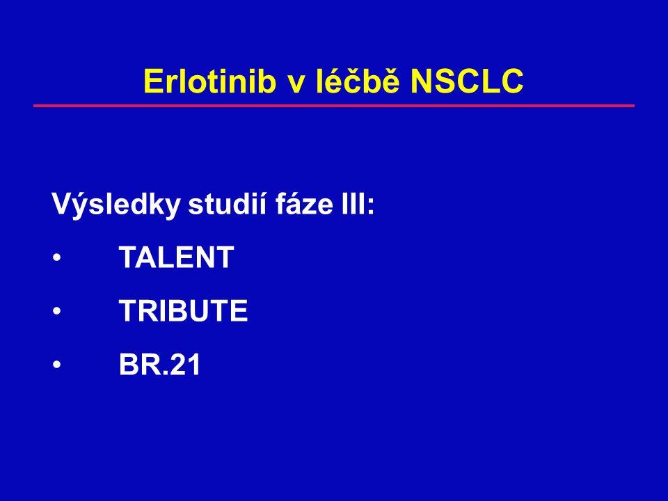 BR.21 – Výhoda přežití dle amplifikace genu EGFR (FISH) EGFR gen Počet pacientů Poměr rizik (95% interval spolehlivosti) P (erlotinib versus placebo) P (srovnání podskupin) Nízký počet kopií 69 0,86 (0,48-1,51)0,59 0,10 Vysoký počet kopií 56 0,44 (0,23-0,82) 0,008