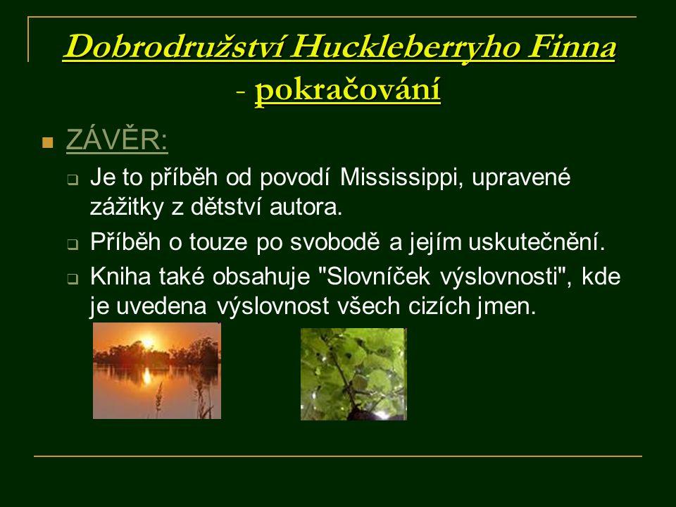 Dobrodružství Huckleberryho Finna pokračování Dobrodružství Huckleberryho Finna - pokračování ZÁVĚR:  Je to příběh od povodí Mississippi, upravené zá