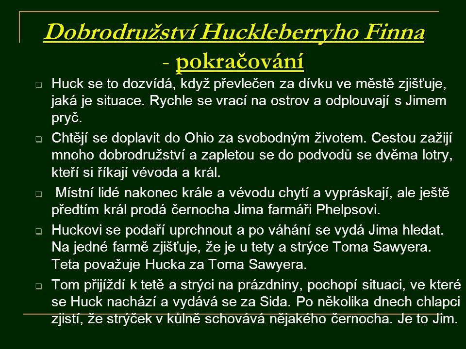 Dobrodružství Huckleberryho Finna pokračování Dobrodružství Huckleberryho Finna - pokračování  Huck se to dozvídá, když převlečen za dívku ve městě z