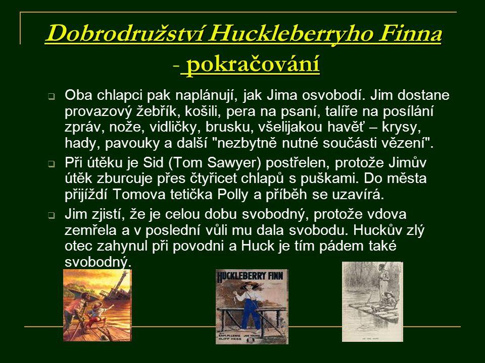 Dobrodružství Huckleberryho Finna pokračování Dobrodružství Huckleberryho Finna - pokračování ZÁVĚR:  Je to příběh od povodí Mississippi, upravené zážitky z dětství autora.