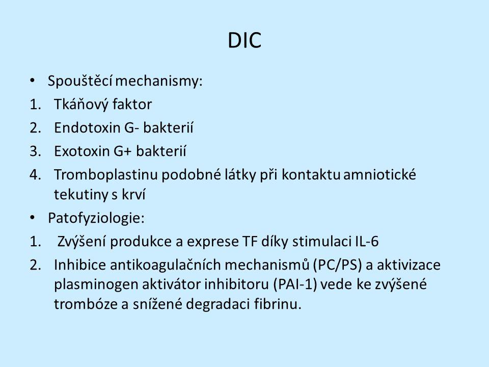 DIC Spouštěcí mechanismy: 1.Tkáňový faktor 2.Endotoxin G- bakterií 3.Exotoxin G+ bakterií 4.Tromboplastinu podobné látky při kontaktu amniotické tekutiny s krví Patofyziologie: 1.