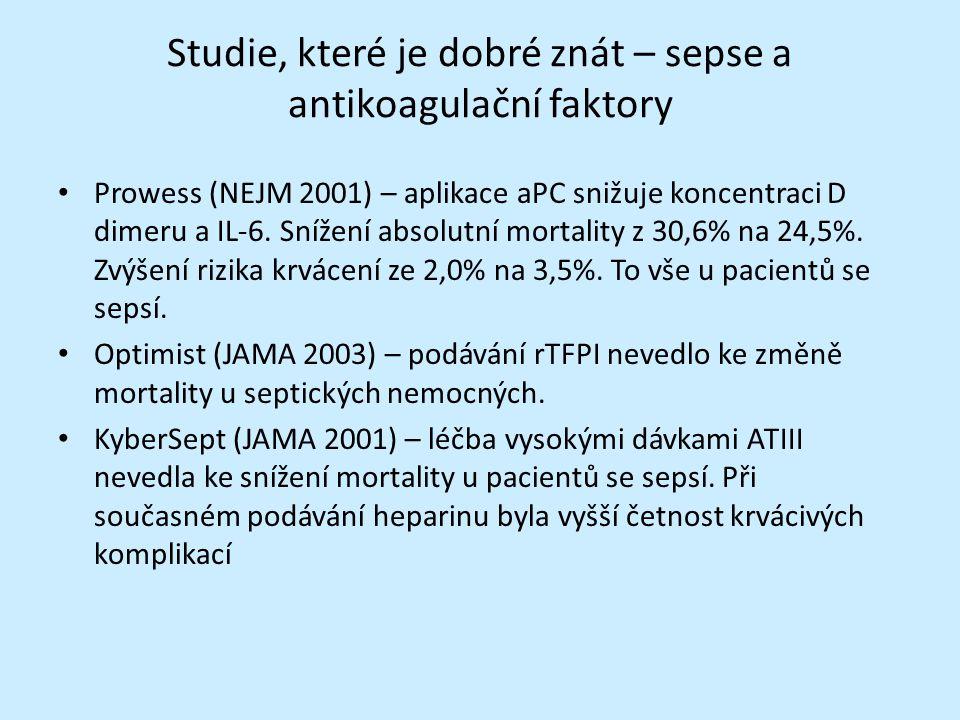 Studie, které je dobré znát – sepse a antikoagulační faktory Prowess (NEJM 2001) – aplikace aPC snižuje koncentraci D dimeru a IL-6.