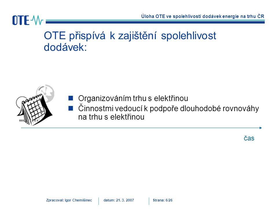Úloha OTE ve spolehlivosti dodávek energie na trhu ČR Zpracoval: Igor Chemišinecdatum: 21. 3. 2007Strana: 6/26 OTE přispívá k zajištění spolehlivost d