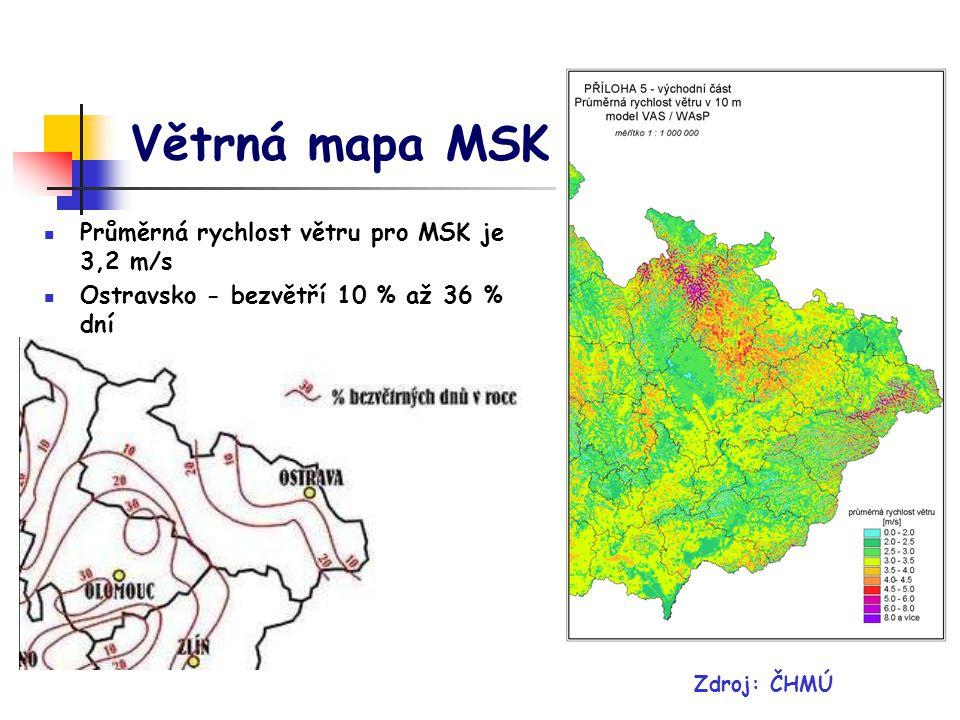 Větrná mapa MSK Zdroj: ČHMÚ Průměrná rychlost větru pro MSK je 3,2 m/s Ostravsko - bezvětří 10 % až 36 % dní