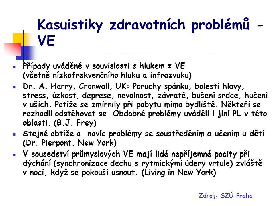 Kasuistiky zdravotních problémů - VE Případy uváděné v souvislosti s hlukem z VE (včetně nízkofrekvenčního hluku a infrazvuku) Dr.