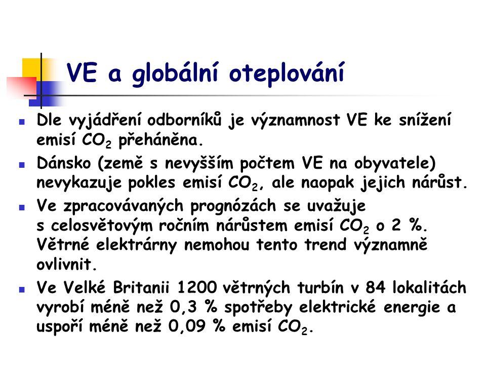 VE a globální oteplování Dle vyjádření odborníků je významnost VE ke snížení emisí CO 2 přeháněna.