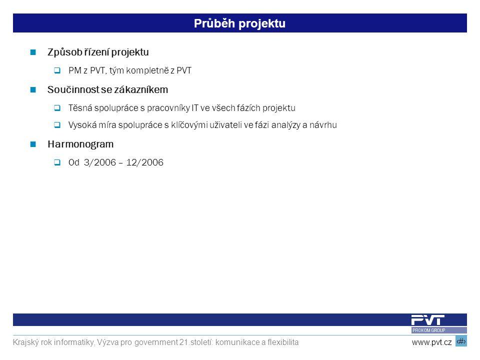12 www.pvt.cz Krajský rok informatiky, Výzva pro government 21.století: komunikace a flexibilita Průběh projektu Způsob řízení projektu  PM z PVT, tý