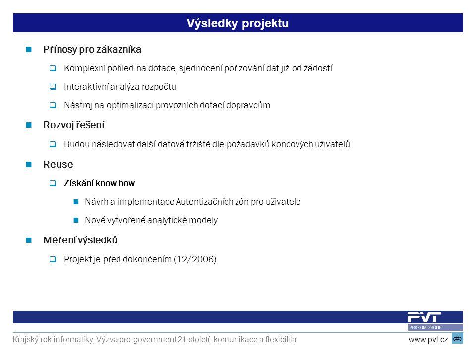 16 www.pvt.cz Krajský rok informatiky, Výzva pro government 21.století: komunikace a flexibilita Výsledky projektu Přínosy pro zákazníka  Komplexní p