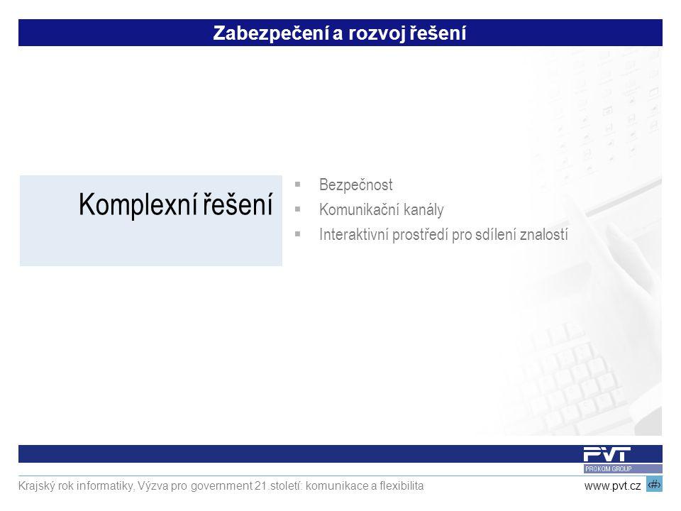 17 www.pvt.cz Krajský rok informatiky, Výzva pro government 21.století: komunikace a flexibilita Zabezpečení a rozvoj řešení Komplexní řešení  Bezpeč