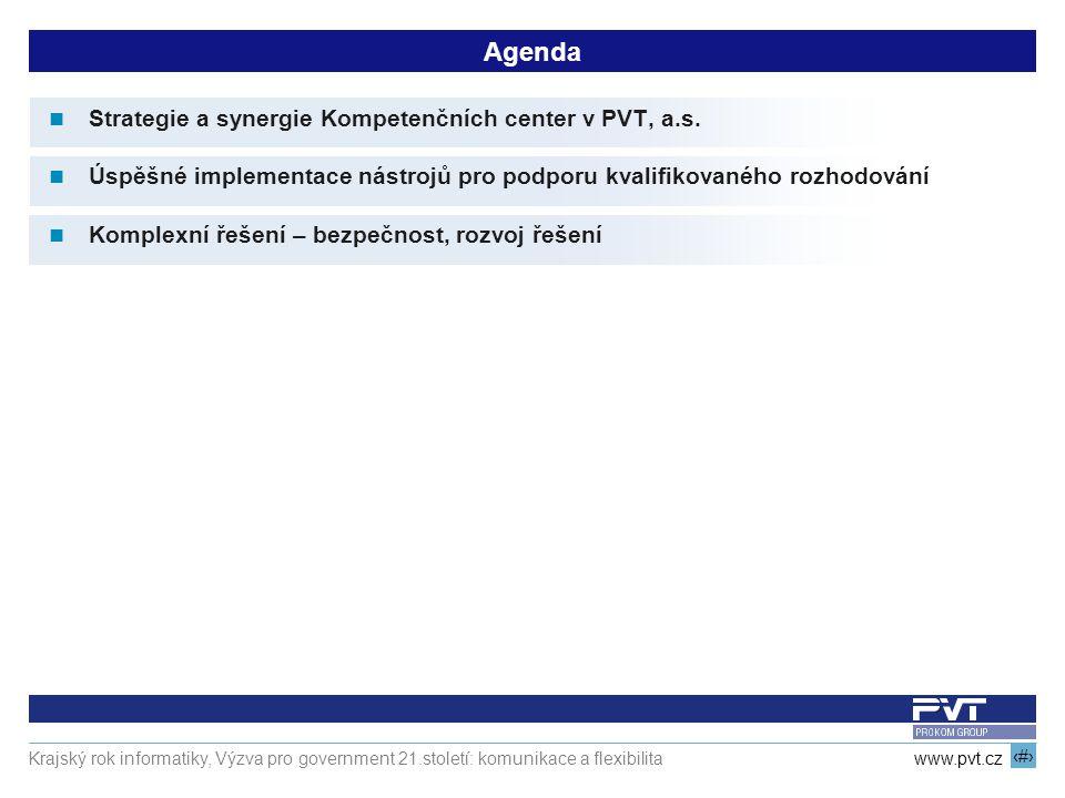2 www.pvt.cz Krajský rok informatiky, Výzva pro government 21.století: komunikace a flexibilita Agenda Strategie a synergie Kompetenčních center v PVT