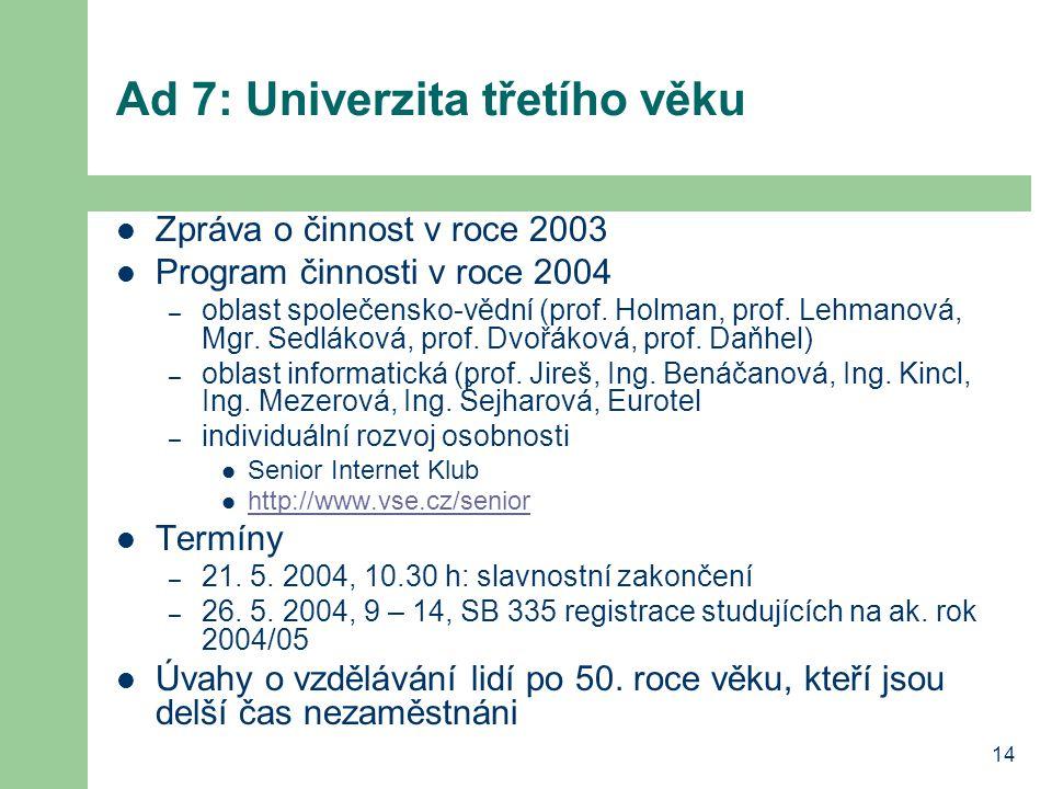 14 Ad 7: Univerzita třetího věku Zpráva o činnost v roce 2003 Program činnosti v roce 2004 – oblast společensko-vědní (prof. Holman, prof. Lehmanová,