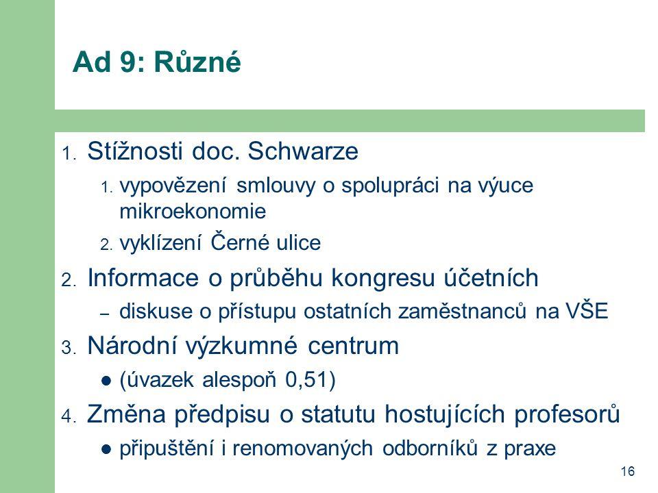 16 Ad 9: Různé 1. Stížnosti doc. Schwarze 1. vypovězení smlouvy o spolupráci na výuce mikroekonomie 2. vyklízení Černé ulice 2. Informace o průběhu ko