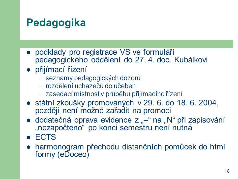 18 Pedagogika podklady pro registrace VS ve formuláři pedagogického oddělení do 27. 4. doc. Kubálkovi přijímací řízení – seznamy pedagogických dozorů